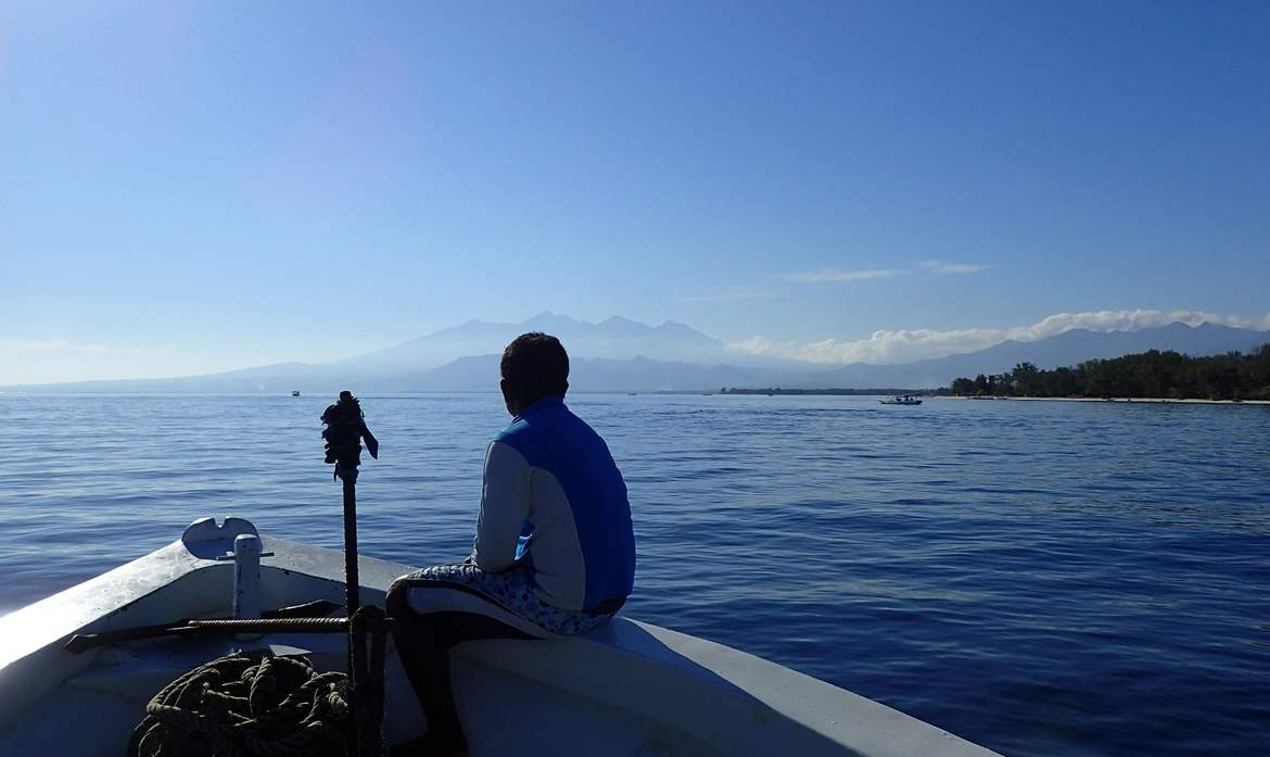 Rinjani from the diving boat in Lombok