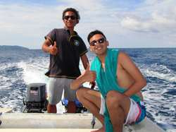 Diver with our dive master in Gili Lombok